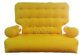 Yellow Color Inflatable Couch Sofa Environmental Friendly For Outdoor Activities
