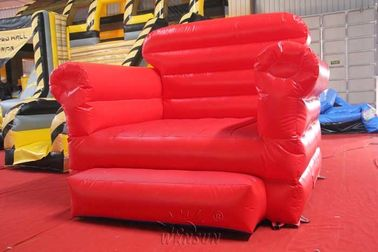 Red Sofa Inflatable Model Water Resistant PVC Tarpaulin Made