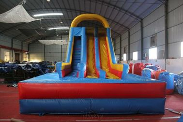 Customized Size Large Inflatable Slide Dry N Wet Slide With Pool For Amusement Parks