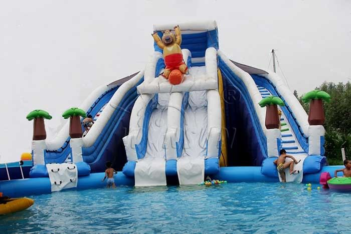 Boonie Bear Commercial Inflatable Water Park , Blow Up Water Playground supplier