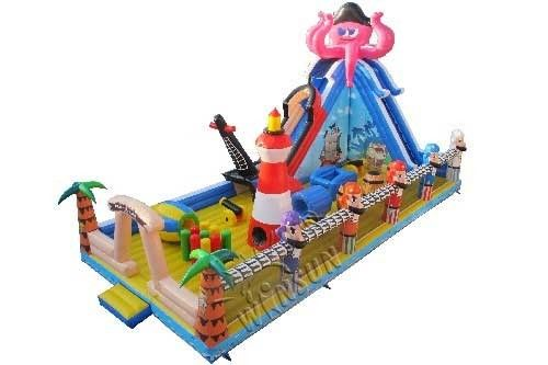 Commercial Grade Inflatable Fun City , Kids Pirate Ship Bounce House supplier
